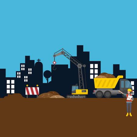 Straßenbau Stadt Baustelle Arbeiter Vektor-Illustration Szene Vektorgrafik
