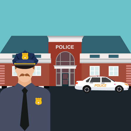 police station: police station officer standing in front of office with car vector cartoon