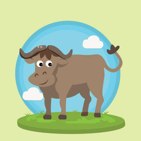 wild grass: buffalo bison smile character fun cartoon vector illustration animal wild in grass friendly drawing Illustration
