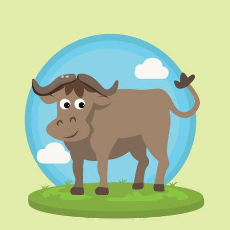 buffalo bison: buffalo bison smile character fun cartoon vector illustration animal wild in grass friendly drawing Illustration