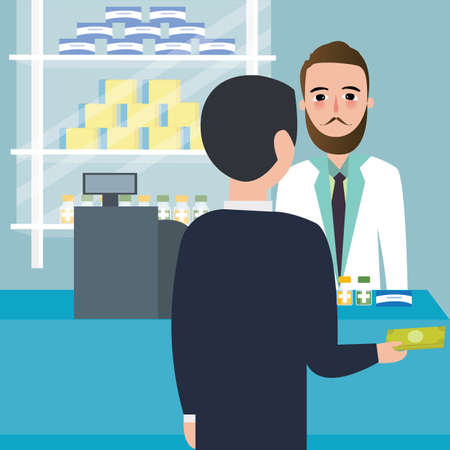 buyer: people consumer buying drug in drug-store pharmacy store at counter payment cashier vector