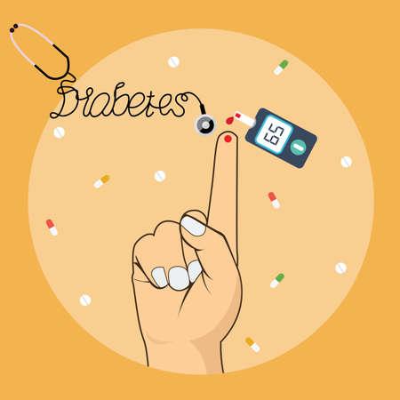 Badanie krwi Cukrzyca środek cukru poziom glukozy przy użyciu narzędzi glukometr wektor