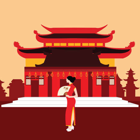 china traditional home house temple red with chinese woman standing in front vector
