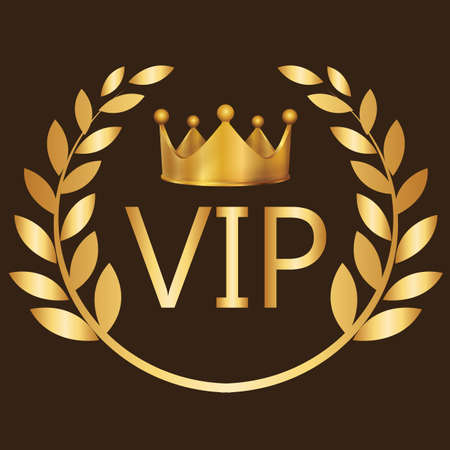 very important person: VIP sign symbol gold very important person club label exclusive crown vector Illustration