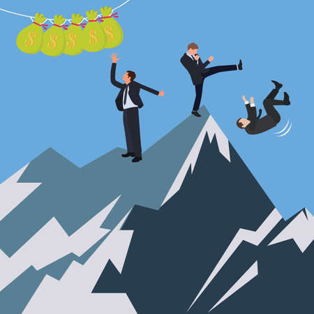 violence in the workplace: business conflict office try fight to reach get money vector Illustration
