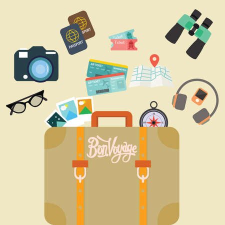 voyage: travel bon voyage baggage leather suitcase object carry like camera passport map and ticket vector