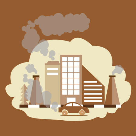poisoning: carbon monoxide dioxide air pollution CO CO2 factory smoke from chimney brown