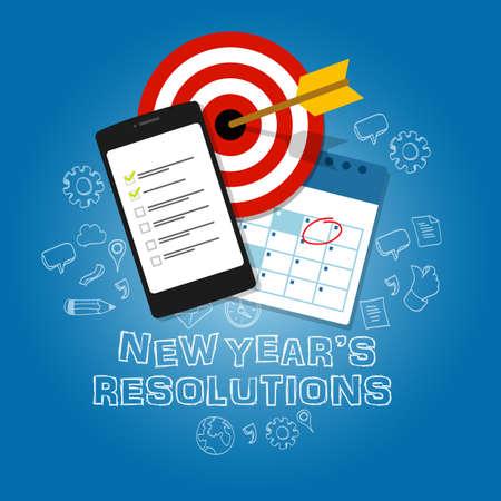resolutions: new years resolutions illustration vector flat target task list calendar blue