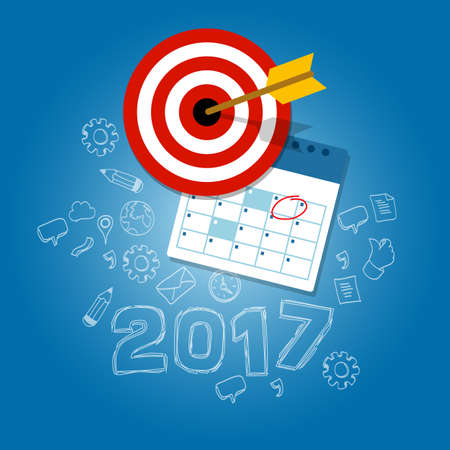 financial year: 2017 new years resolutions illustration vector flat target calendar blue