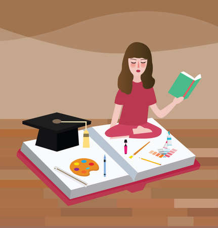 peacefully: girl read books peacefully try to find idea about painting education school class of art vector