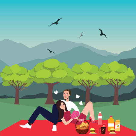 dating: couple picnic man woman in park outdoor dating bring food in basket