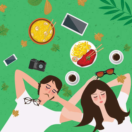 spend the summer: couple lying on grass enjoy relax with food on park and items around it spend time together