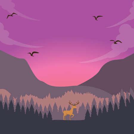 majestic: nature scene deer on sunset sunrise in forest majestic sky
