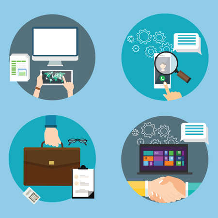 business contract: computer technology icon business set contract search Illustration