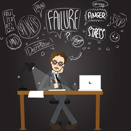 workaholic: business man stress anger confuse working late night unhappy stressful exhausted cartoon illustration