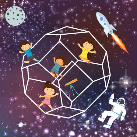 imagine a science: kids imagination space galaxy astrounout rocket beautiful sky flying stars