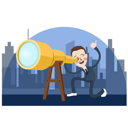 business man looking into telescope search opportunity
