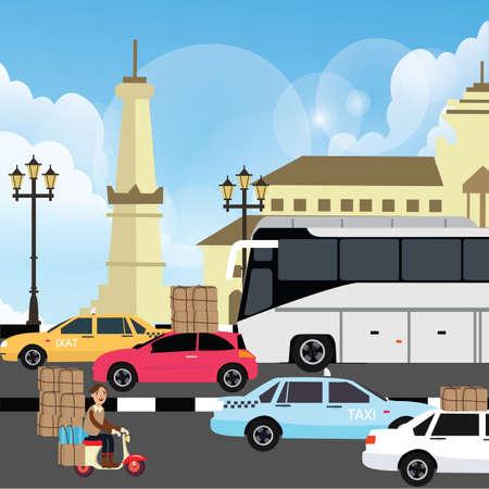 congestion: holiday vacation traffic jam congestion illustration in yogyakarta street indonesia