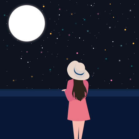contemplation: girls looking starring at the night sky alone contemplation thinking alone Illustration