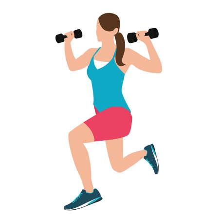 en cuclillas: posici�n de fitness mujer que sostiene con su mano pesas en cuclillas