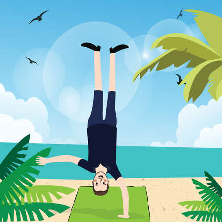 alone person: man handstand with one hand in beach exercise fun action upside down
