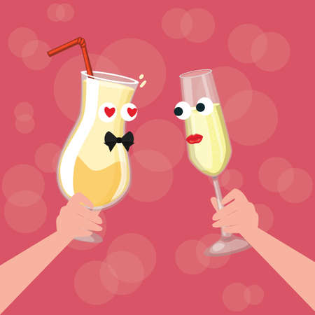 engagement: two glass character cartoon cheers fall in love dinner each other