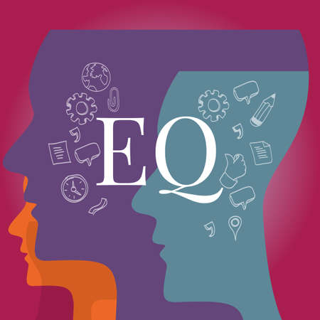 EQ emotional quotient intelligence illustration test concept Çizim