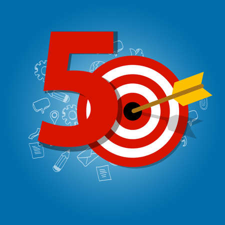 fifty: fifty years target in business calendar list of achievement Illustration