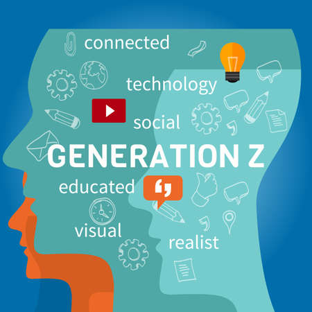 generation z connected concept illustration marketing