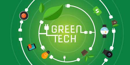 green environment: green tech eco environment friendly technology illustration