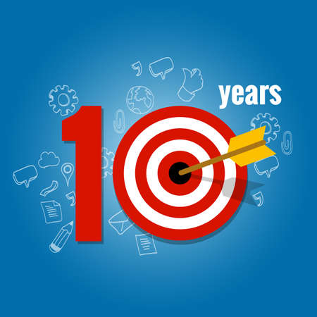 ten years target and plan in business calendar list of achievement Illustration