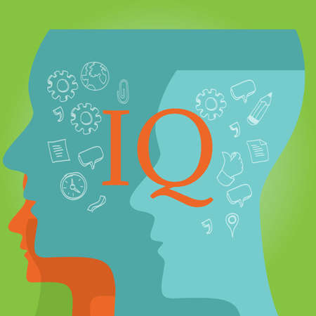 IQ intellectual quotient intelligence drawing illustration concept