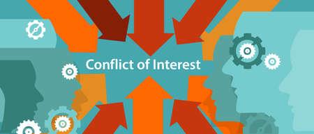 conflit d'intérêts gestion d'entreprise concept de problème vecteur