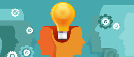 co-creation think work collaboration two heads with one idea vector Иллюстрация