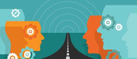 Weg in die Zukunft Zukunftskonzept des Plan Reise Leader Vision Unsicherheit Vektor Änderung Hoffnung