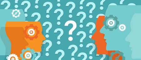 Points d'interrogation autour de partout problème vecteur tête confuse équipe de questionnement Banque d'images - 58711723