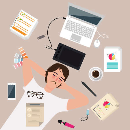 office environment: man male designer worker enjoy after work take a rest sleep around laptop vector