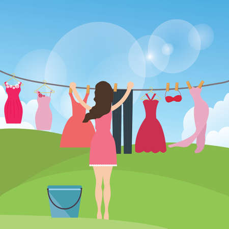 clothes hanging: woman female mom drying clothes hanging in rope under the sun outdoor vector