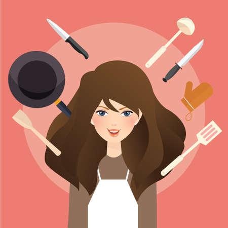 beautiful smile: beautiful woman smile around cooking tools kitchen utensils wearing apron vector Illustration