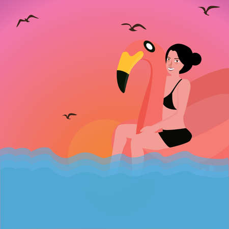 sexy blonde girl: woman riding inflatable flamingo water pool vector Illustration