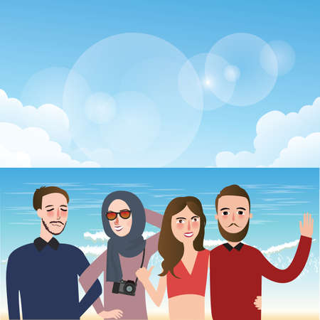 taking picture: friends taking picture together wearing veil fun on beach illustration vector Illustration