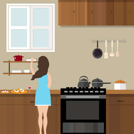 cook house: mom woman cooking in kitchen preparing for food cartoon illustration vector