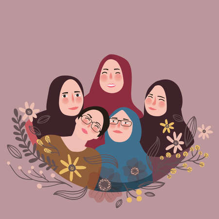 veil: friends wearing scarf veil pose together friendship fun with friends Islam vector