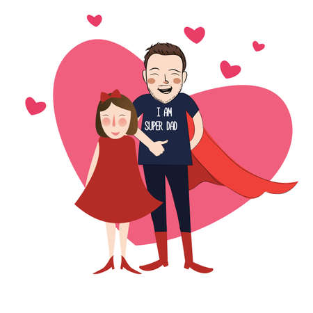 I am super dad illustration cartoon girl daughter with her lovely father vector Illustration