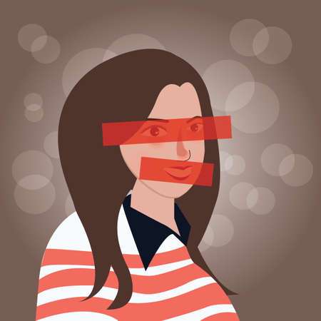 girls with eyes and mouth closed censor confidential vector illustration