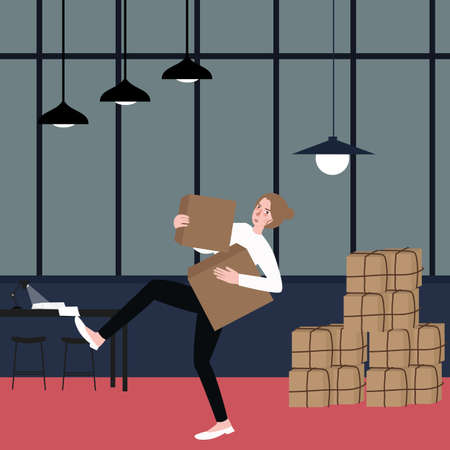 unpacking: woman almost fall holding bring cardboard box with pile of stacking package behind vector Illustration