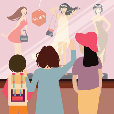 shopping mall: woman and kids standing in front of sale item fashion store vector