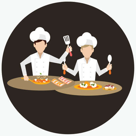 working together: two chef working together prepare for the dish food in restaurant table vector Illustration