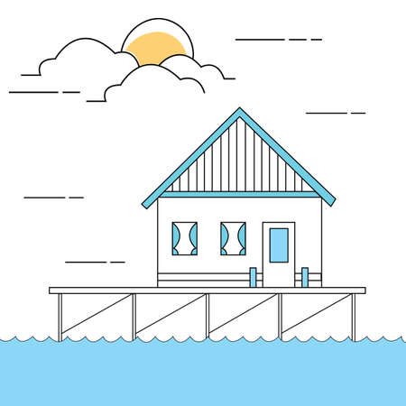 lake house: line style illustration of house or home above sea water close to lake vector