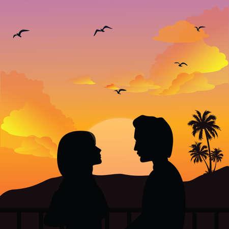 romance sky: couple silhouette romance man woman girls sunset beautifull sky at beach vector